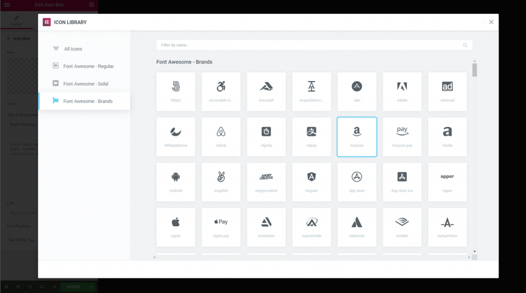 Elementor 2.6 Font Awesome 5 Icon Picker